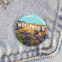 Hollywood Sign 1.25 Inch Pin Back Button Badge