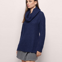 Cowl Neck Knitted Loose Sweater