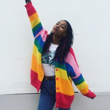 Autumn Women Sweater Colorful Rainbow Striped Cardigan Embroidery Letters Knitted Female Harajuku Sweaters Plus Size 3XL