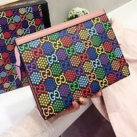 GUCCI Fashion Men Women Leather Handbag Tote Wrist Bag Wallet Wash Gargle Bag