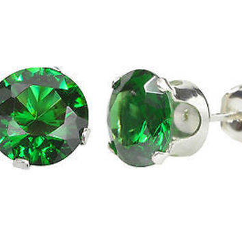 Emerald Cubic Zirconia Stud Earrings Sterling Silver 7mm Round Studs