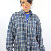 90s Blue flannel shirt Plaid grunge Checkered Button up Large
