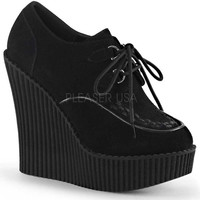 Black Wedge Platform Lace-Up Vegan Creepers