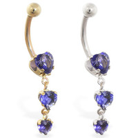 14K Gold belly ring with triple heart amethyst CZ dangle