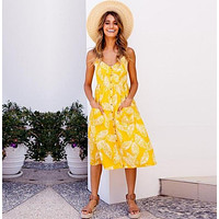 Yellow Palm Long Buttoned Sundress