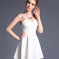 White Spaghetti Strap Sweetheart Neckline High Waist Skater Dress