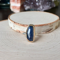 Organic & Genuine Sapphire Gemstone, Freeform Tavernier-Cut with Micro Facets in 14k Yellow Gold and .925 Sterling Silver, Anniversary Ring