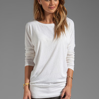 Michael Stars Long Sleeve Slim Boatneck with Banded Hem in Ivory