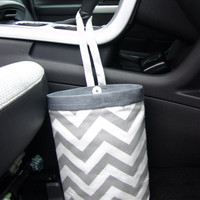 Car Trash Bag Chevron Gray and White With Gray Band