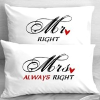 Mr Right Mrs Always Right Pillowcases, First Anniversary Gift Idea, Funny Gift for Him, Gifts for Husband