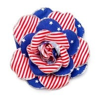 Stars and Stripes Glitter Edge Flower Hair Clip | Claire's