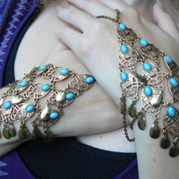 PAIR of belly dancer slave bracelet moroccan turquoise beaded brass tone filigree  moroccan indie belly dancer boho hipster and gypsy style