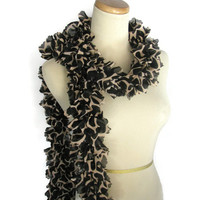 Spring Scarf, Ruffle Scarf, Giraffe Design, Black Brown Scarf, Hand Knit Scarf, Knit Scarf,  Animal Print,  Designer, Women, Mother's Day