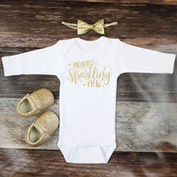 Brand Sparkling New Onesuit | Gold Sparkly Baby Coming Home Outfit | Gold Baby Take Home Outfit | Brand Sparkling New with Gold Bow