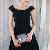 Black Boat-Neck Pleated Dress