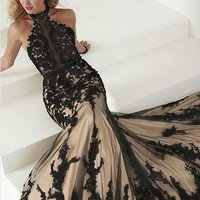 Elegant Black Lace Evening Dresses Mermaid Long Party Halter Tulle Women Ladies Prom Formal Evening Gown Dress for Wedding