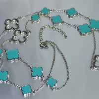 """Alhambra Clover 36"""" Long Necklace-Turquoise/Silver"""