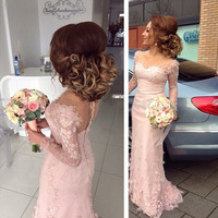 Sexy Pink Bridesmaid Dresses African Lace Sweetheart Flowers Long Sleeves Mermaid Formal Prom Dresses 2017 Wedding Party Gowns