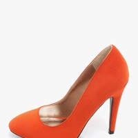 Orange Sweet Sofia Round Toe Pumps | $10.00 | Cheap Trendy Heels and Pumps Chic Discount Fashion for