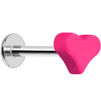 16 Gauge Pink Neon Heart Labret Monroe Tragus Ring - 5/16"