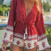 Printed Bell Sleeve V Neck Playsuit