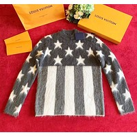 LV Louis Vuitton Fashion Women Men Casual Star Mohair Knit Long Sleeve Sweater Sweatshirt