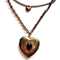Heart Locket Double Chain Large Chunky Oversized Gold Tone Patina Black Faceted Cabochon Vintage