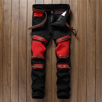 Black Fashion Men's Fashion Zippers Jeans [10766088003]
