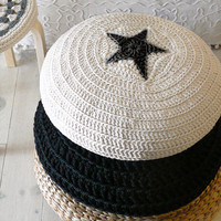 Floor Cushion Crochet Star - ecru and black