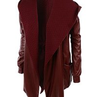 LE3NO Womens Faux Leather Long Oversized Trench Coat with Hoodie (CLEARANCE)