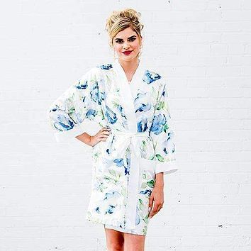 Blue Watercolor Floral Silky Kimono Robe on White Large - X-Large (Pack of 1)