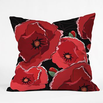 Belle13 Red Poppies On Black Throw Pillow