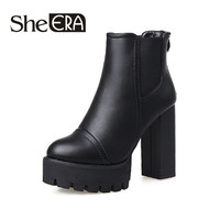Sexy Ultra Women Boots High Heel Boots Martin Thick Heel Platform Women Shoes Chelsea Ankle Boots