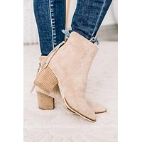 Taupe Weslee High Ankle Suede Booties