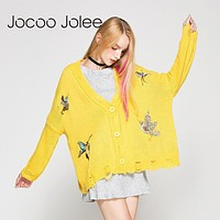 Jocoo Jolee Embroidery Autumn Knitted Sweater Cardigans Bird Knitwear Loose Ladies Women's Coat Cardigans of Large Sizes