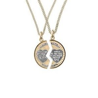 """14k Gold-Filled Two-Tone Round Mizpah Pendant Necklace with Stainless Steel Chains, 20"""" and 24"""""""