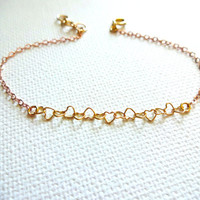 Micro 14k Gold Fill Heart Link Chain Bracelet or Anklet - Mixed Metals; Gold Fill; Rose Gold; Personalized; Gift for Her; Small Hearts