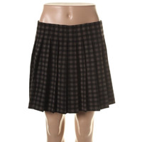Theory Womens Wool Plaid A-Line Skirt