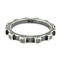Stackable Lock Ring in Oxidized Silver