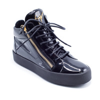 Giuseppe Zanotti Men's Black Patent Kriss Mid Top Sneakers