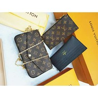 LV Louis Vuitton Popular Women Leather Handbag Tote Shoulder Bag Satchel Three-Piece Set