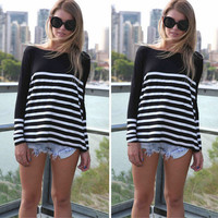 Long Sleeve Black and White Striped T-Shirt