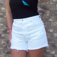 High Waisted White Distressed Levi's Shorts Size by DenimAndStuds