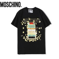 Moschino New fashion letter coin print couple top t-shirt Black