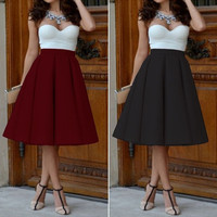 Vintage Women Sexy Strapless Stretch High Waist Plain Skater Flared Pleated Long Skirt Dress = 1947031236