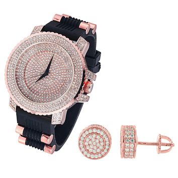 Men's Rose Gold Finish  Dial Watch Silicone Strap & Matching Earrings Combo