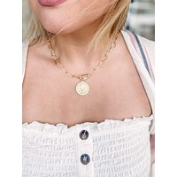 Rectangle Pattern Chain with Coin Pendant and Jeweled Toggle Necklace