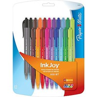 Paper Mate® InkJoy 100 RT Retractable Ballpoint Pen, Medium Point, Assorted Ink Colors, 20/pk (1879331) | Staples®