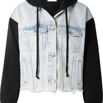 Current/Elliott - The Celyn hooded distressed denim and cotton-jersey jacket