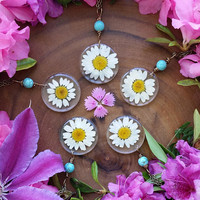 Real daisy necklace, real daisy, flower necklace,  real flower jewelry, pendant, lucky charm